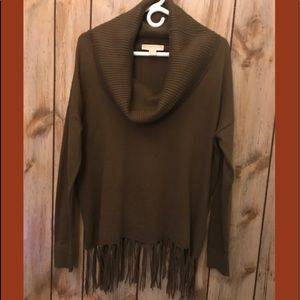 Michael Kors ..Cowl-Neck with Fringes Sweater M